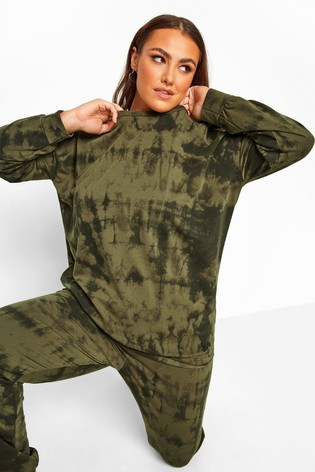 Yours Khaki Curve Limited Collection Tie Dye Sweatshirt