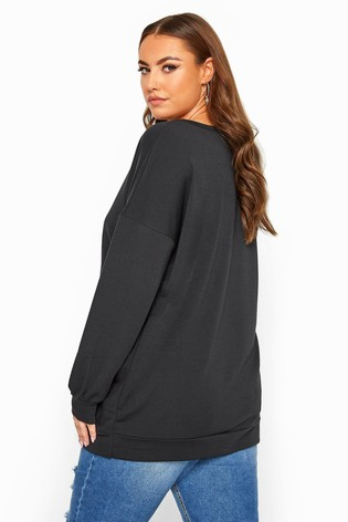 Yours Black Curve Limited Collection Butterfly 'Dreamer' Sweatshirt
