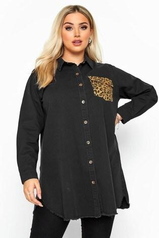 Yours Curve Denim Leopard Pocket Shirt