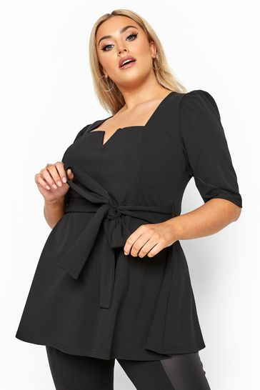 Yours Black Curve Notch Neck Belted Peplum Top