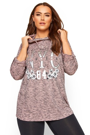 Yours Curve Pink Lightweight Hoodie