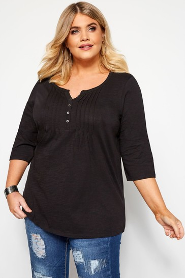 Yours Curve Black Three-Quarter Sleeve Henley Top