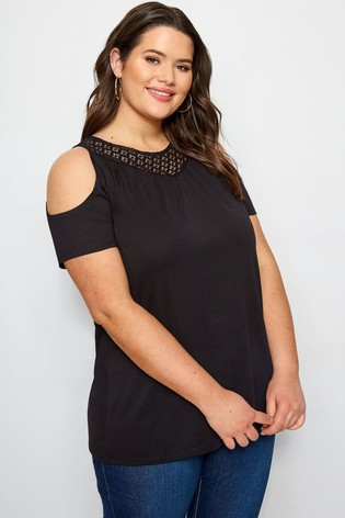 Yours Black Curve Lace Yoke Cold Shoulder Tee