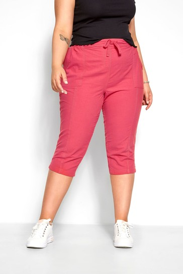 Yours Curve Pink Cool Cotton Cropped Trouser