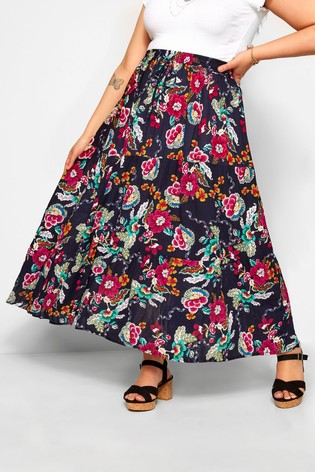Yours Curve Floral Maxi Skirt