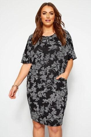 Yours Curve Cocoon Pleat Drape Pocket Dress