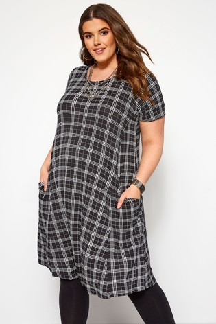 Yours Curve Check Drape Pocket Dress