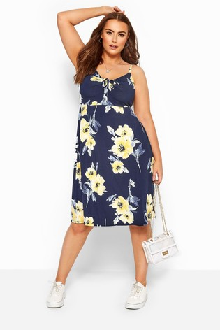 Yours Curve Floral Bow Front Cami Dress