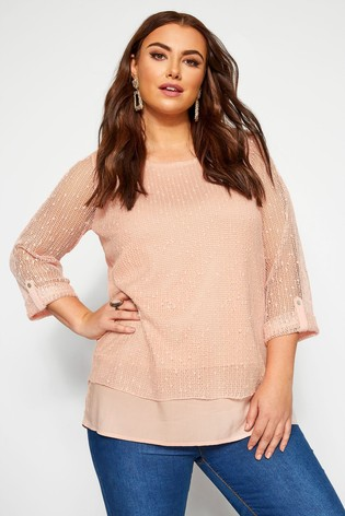 Yours Curve Pink Layered Cut Top
