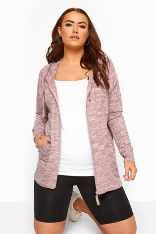Yours Curve Pink Lightweight Zip Through Hoody