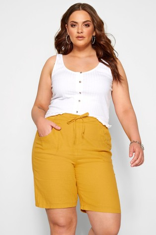 Yours Curve Yellow Printed Short