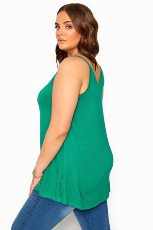 Yours Curve Green Solid Swing Cami