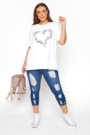 Yours Blue Curve Jenny Extreme Distressed Crop Jeggings