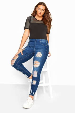 Yours Navy Jenny Extreme Distressed Jeans