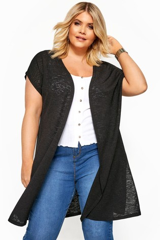 Yours Curve Black Thick & Thin Cardigan