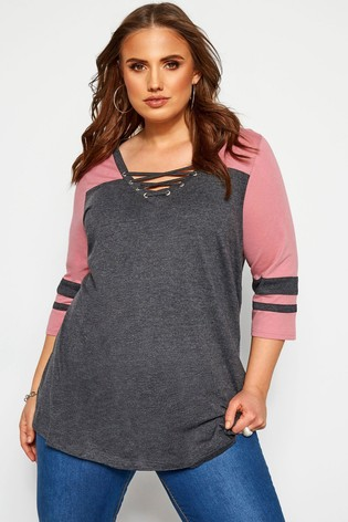 Yours Curve Grey 3/4 Sleeve Colour Block Tee
