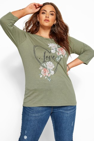 Yours Curve 3/4 Sleeves Pocket Tee