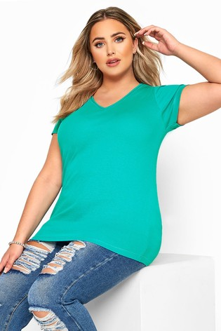Yours Curve Green V neck T-Shirt