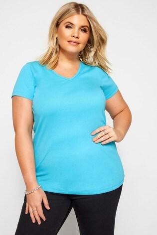 Yours Curve Blue V neck T-Shirt