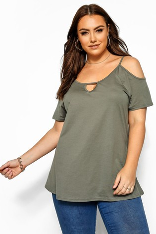Yours Curve Khaki Solid Strappy Keyhole Cold Shoulder Top