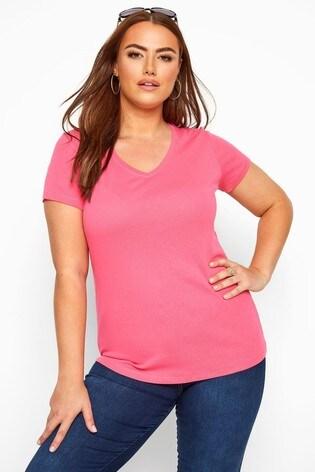 Yours Curve Pink V neck T-Shirt