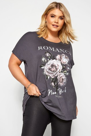 Yours Curve Dip Back Grown Sleeve Floral Tee