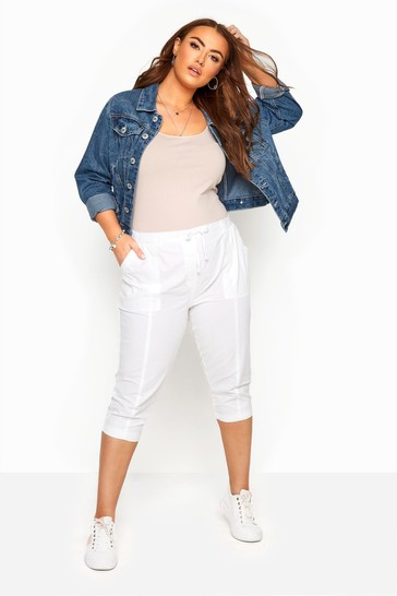 Yours Curve White Cool Crop Trousers