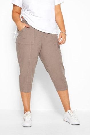 Yours Curve Cool Cotton Crop Latte Trouser