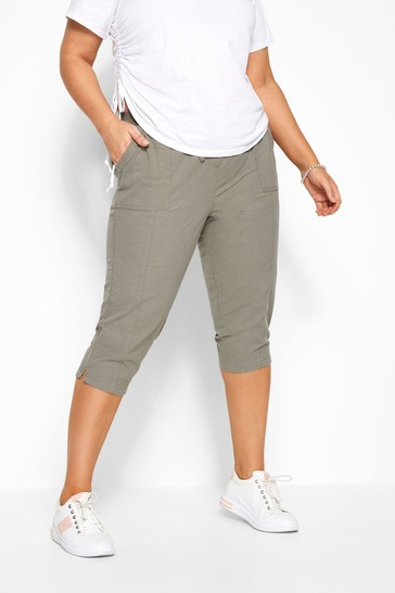 Yours Curve Khaki Cool Crop Trousers