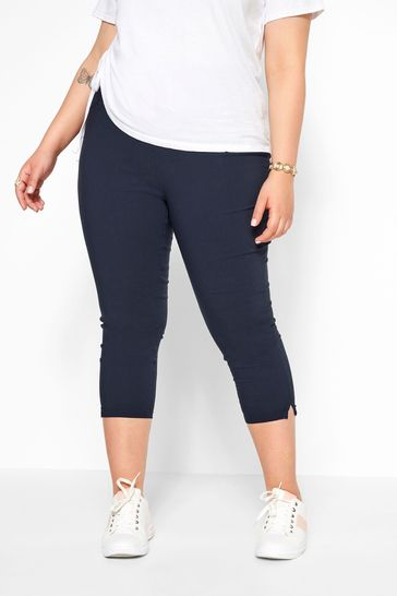Yours Navy Curve Bengaline Crop Trouser