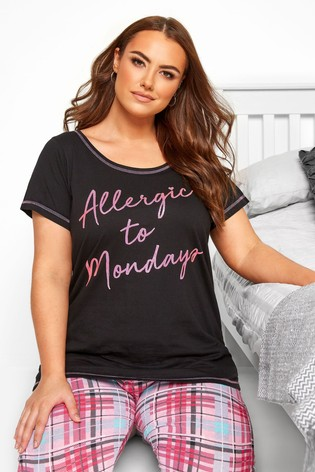 Yours Curve Allergic To Mondays PJ Top