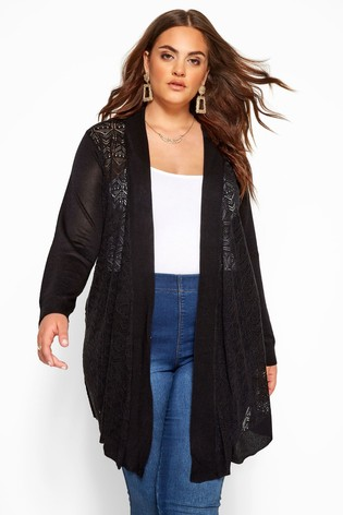 Yours Black Curve Pointelle Waterfall Cardigan