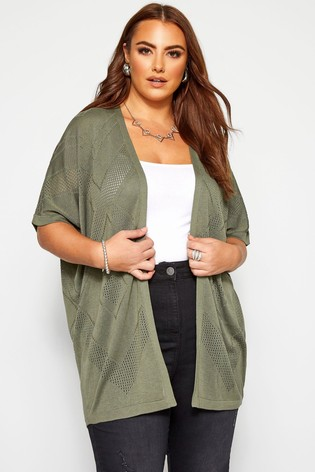 Yours Curve Khaki Cocoon Stitch Cardigan