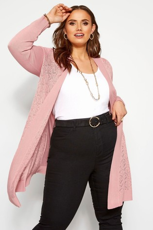 Yours Pink Curve Pointelle Waterfall Cardigan