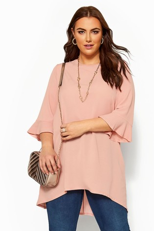 Yours Curve Pink Fluted Sleeve Tunic
