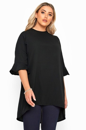 Yours Curve Black Fluted Sleeve Tunic