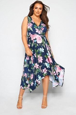 Yours Curve Floral Hanky Hem Wrap Dress