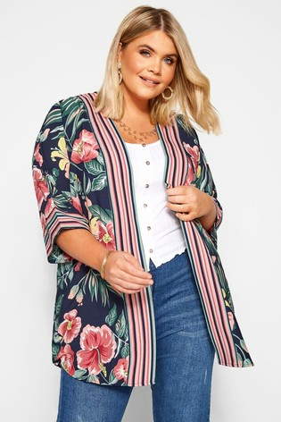 Yours Curve Floral Print Mix Cover Up