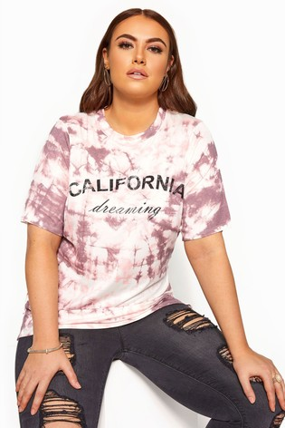 Yours Pink Curve Slogan Tie Dye T-Shirt