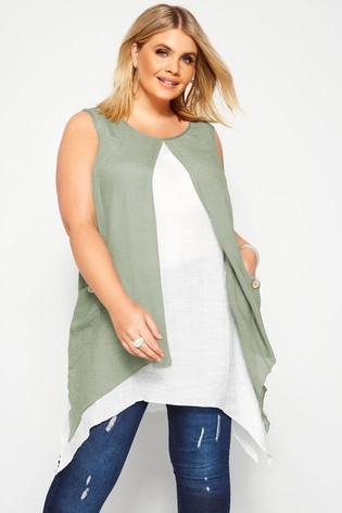 Yours Curve Double Layer Button Tunic