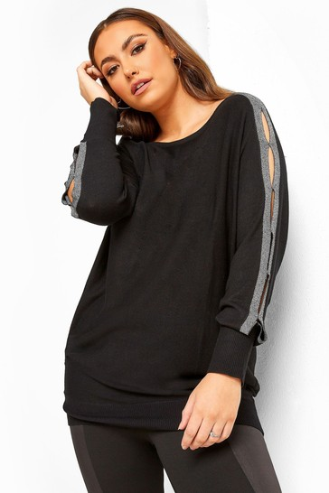 Yours Black Curve Tape Knitted Jumper