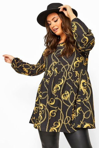 Yours Black Curve Chain Print Balloon Sleeve Smock Tunic