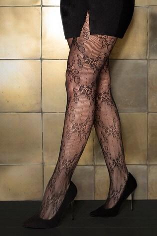 Pour Moi Black Make A Scene Lace Tights