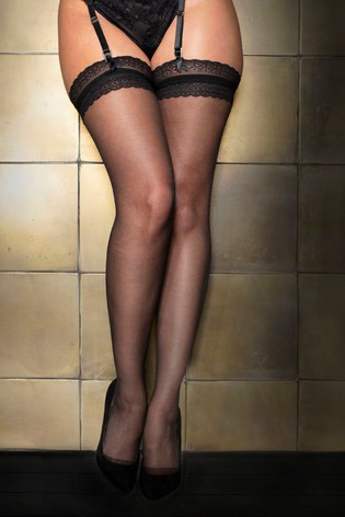 Pour Moi Black Statement Lace Top 15 Denier Stocking