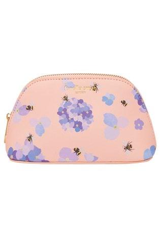 Fenella Smith Bee & Hydrangea Vegan Leather Oyster Cosmetic Case