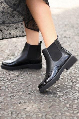 Linzi Black Muse PU Chunky Sole Brogue Style Chelsea Boot