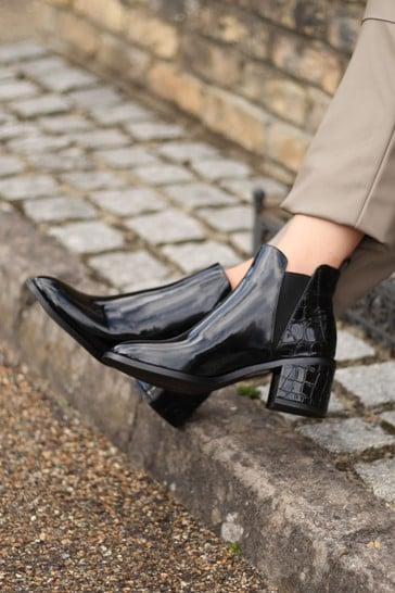 Linzi Black Donna Patent Croc Pull On Block Heeled Ankle Boot