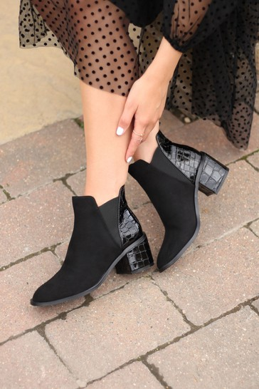 Linzi Coal Donna Patent Croc Pull On Block Heeled Ankle Boot