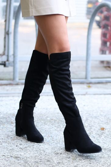 Linzi Black Suede Block Heeled Knee High Boot