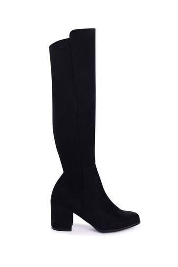 Linzi Black Suede Block Heeled Knee High Boot